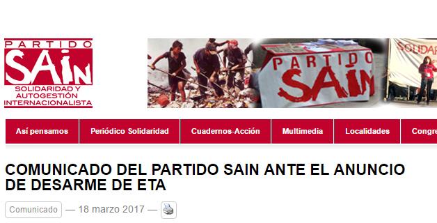 Comunicado del Partido SAIn ante el anuncio de desarme de ETA