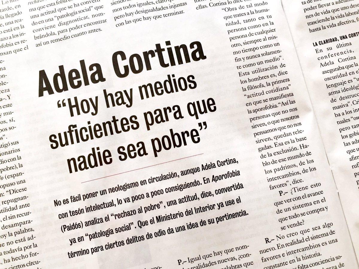 """Adela Cortina: """"Hoy hay medios suficientes para que nadie sea pobre"""""""